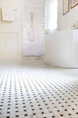 interior floor in bianco delicato basketweave mosaic
