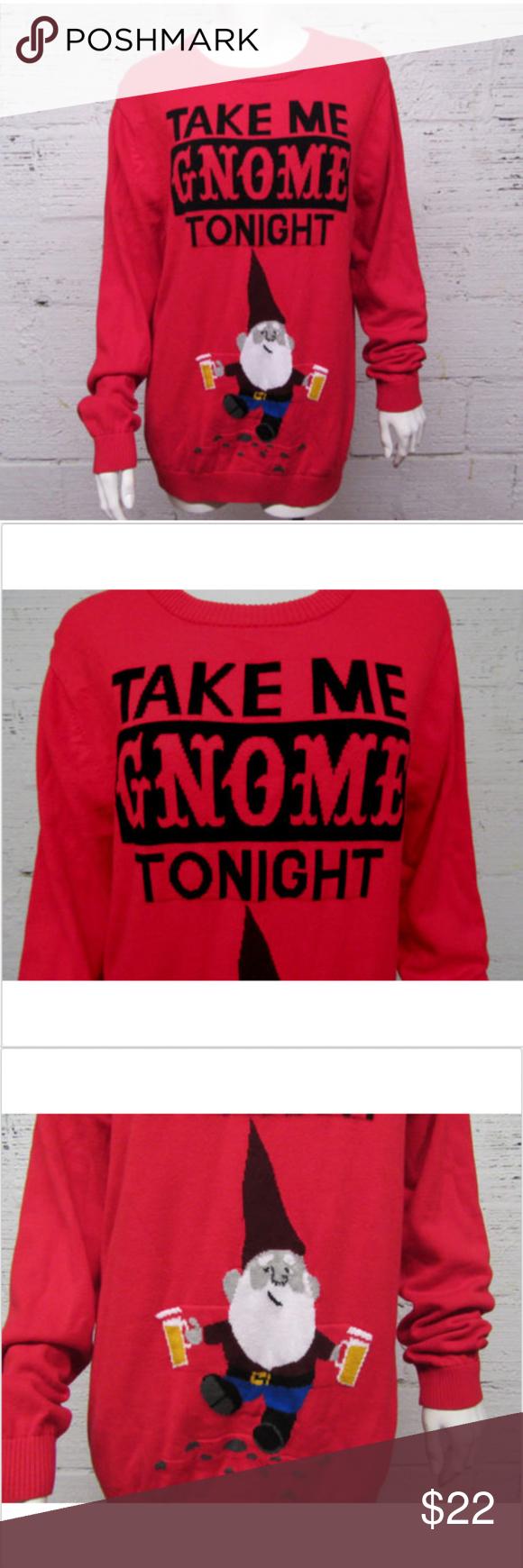 Take Me Gnome Tonight Red Long Sleeve Sweater Take Me Gnome Tonight