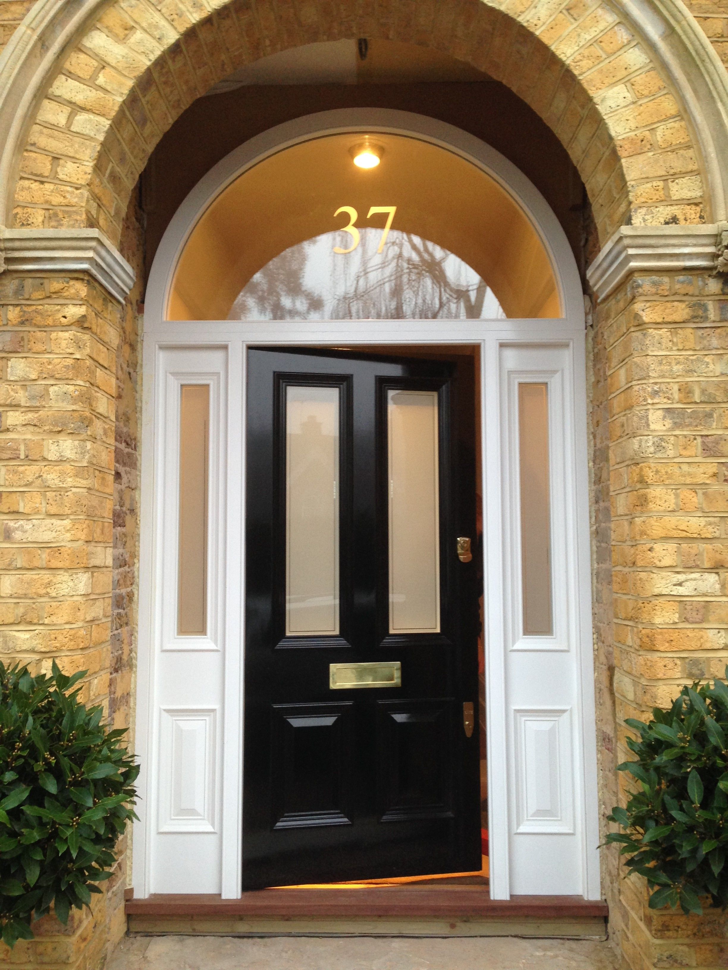 Victorian four panel front door in black gloss home for Front door frame