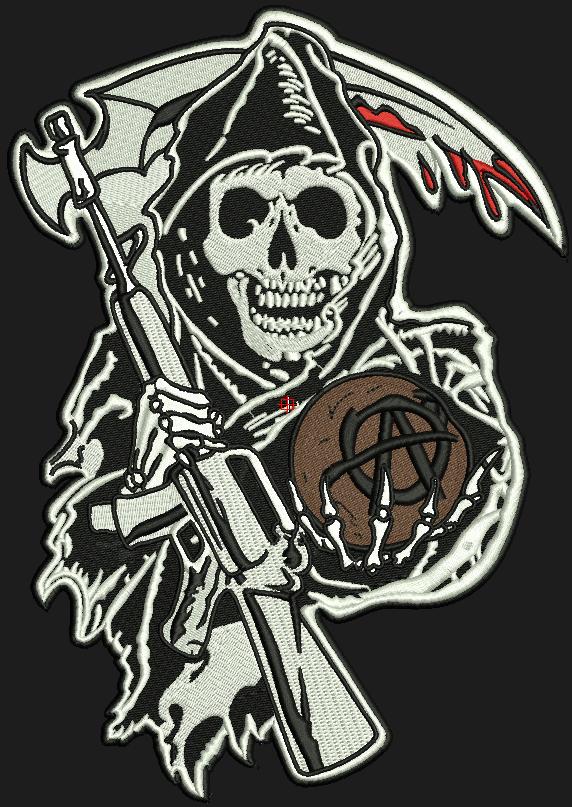 Son Of Anarchy Embroidery Design Grim Reaper Logo Blankets Big Huge