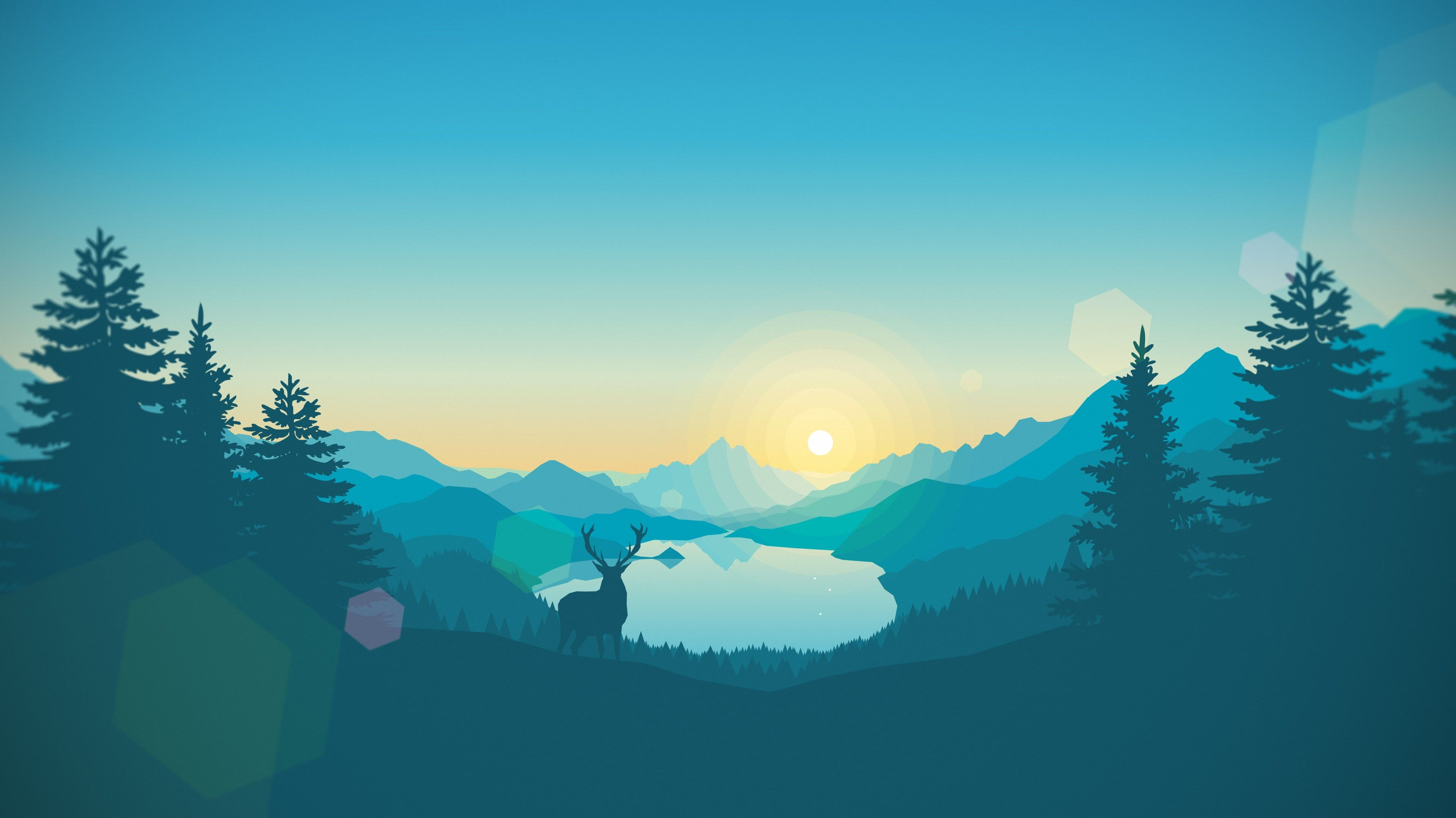 Silhouette Of Deer And Trees Painting Lake Artwork Gradient Vector Landscape Firewatch Video Games Na In 2020 Landscape Wallpaper Sunset Wallpaper Art Wallpaper