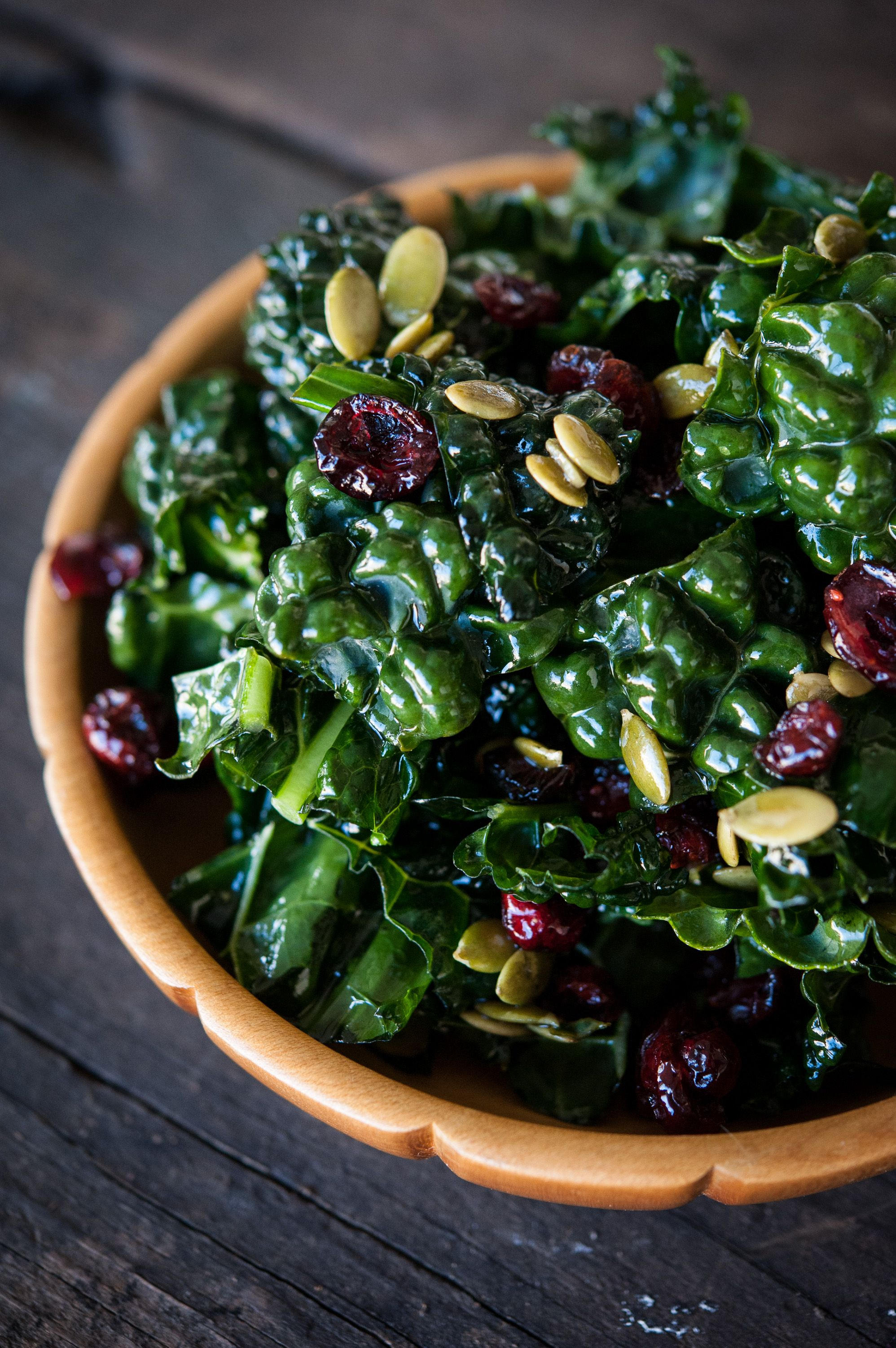 Kale Salad with Cranberries and Pumpkin Seeds recipe