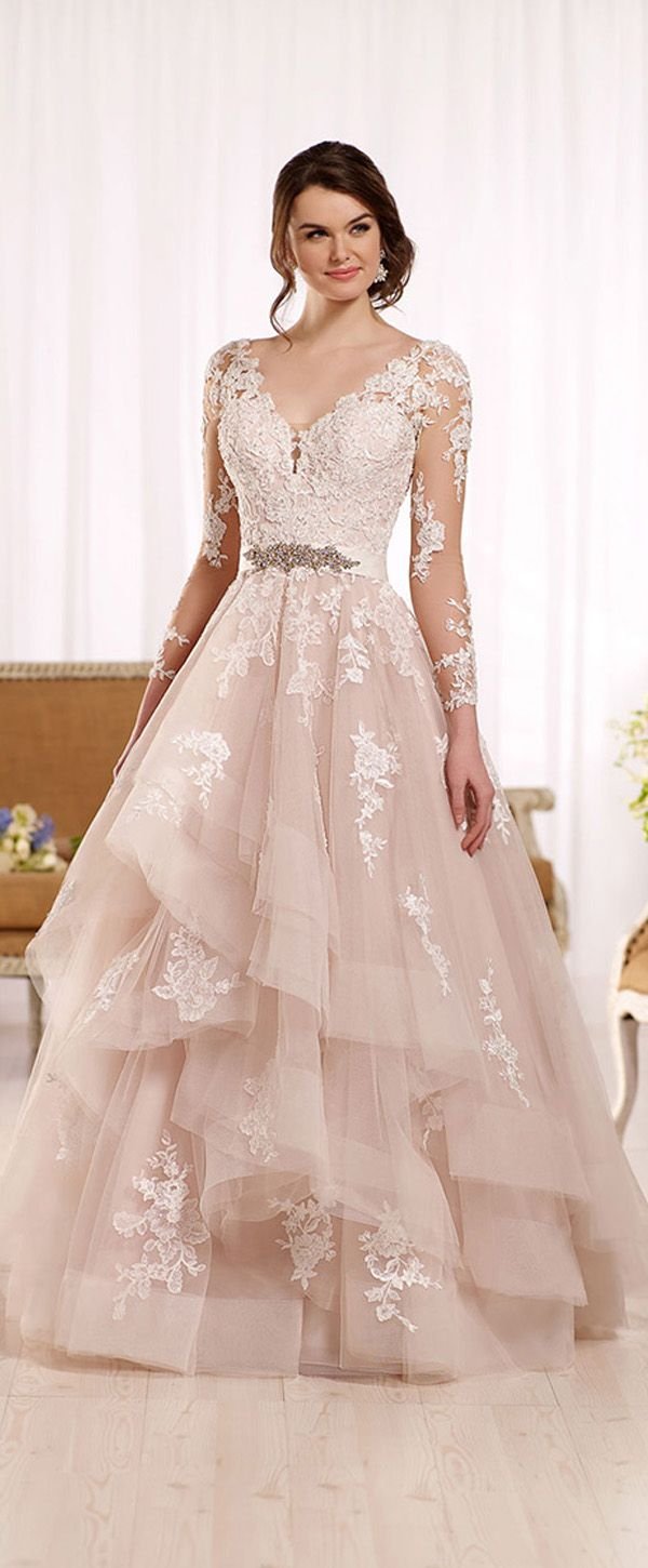 Marvelous Tulle V-neck Neckline A-line Wedding Dresses With Lace ...