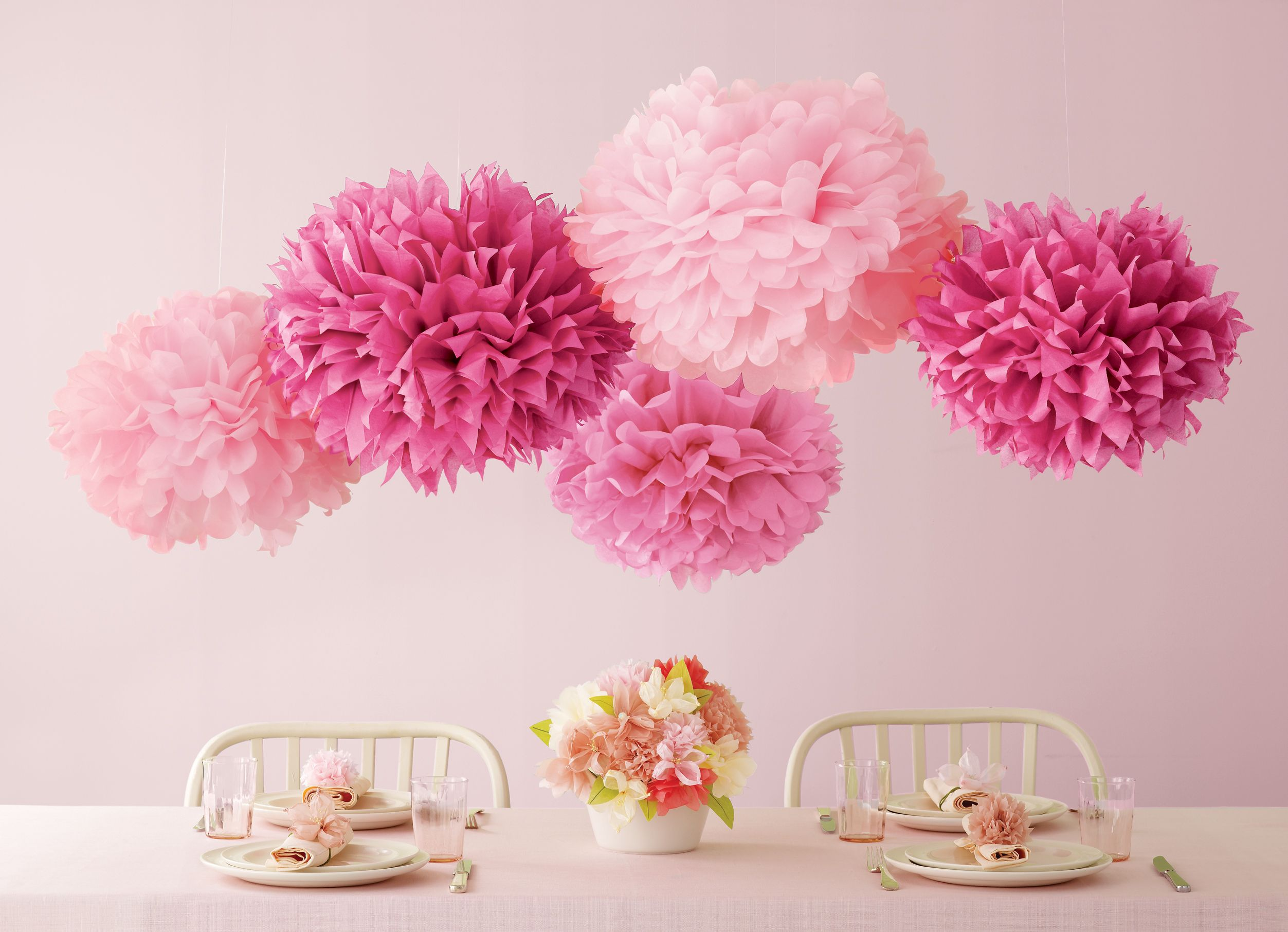 Add A Burst Of Pink To A Party Table With These Tissue Paper Pom