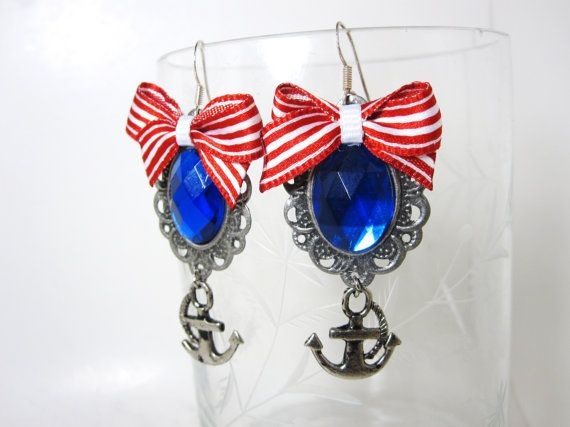 Stripe Bow Sailor Earrings Anchor Navy Nautical Sea by MissLizzyD, $13.00