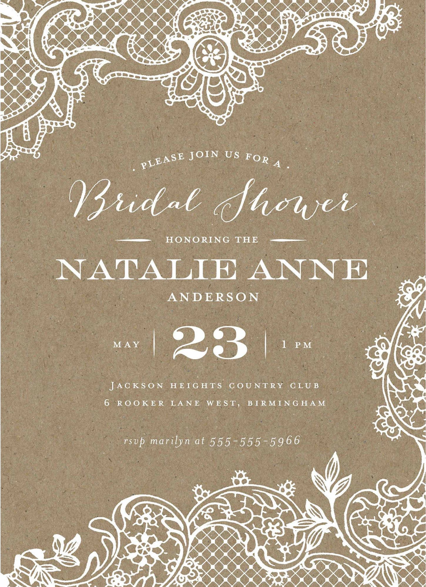 loving lace light brown walmart bridal shower invitation template design with white script bridalshower invitation templates collection ideas
