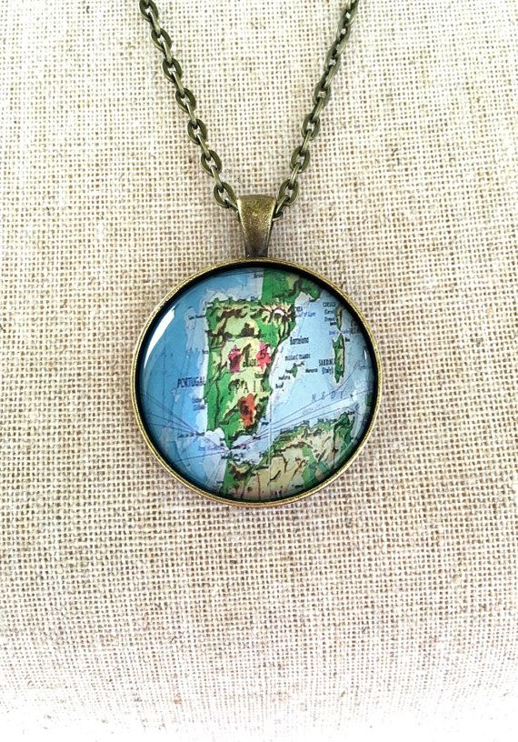 Spain world map globe necklace travel wanderlust unique gift world map globe necklace spain travel wanderlust unique gift traveler camino de santiago gumiabroncs Image collections