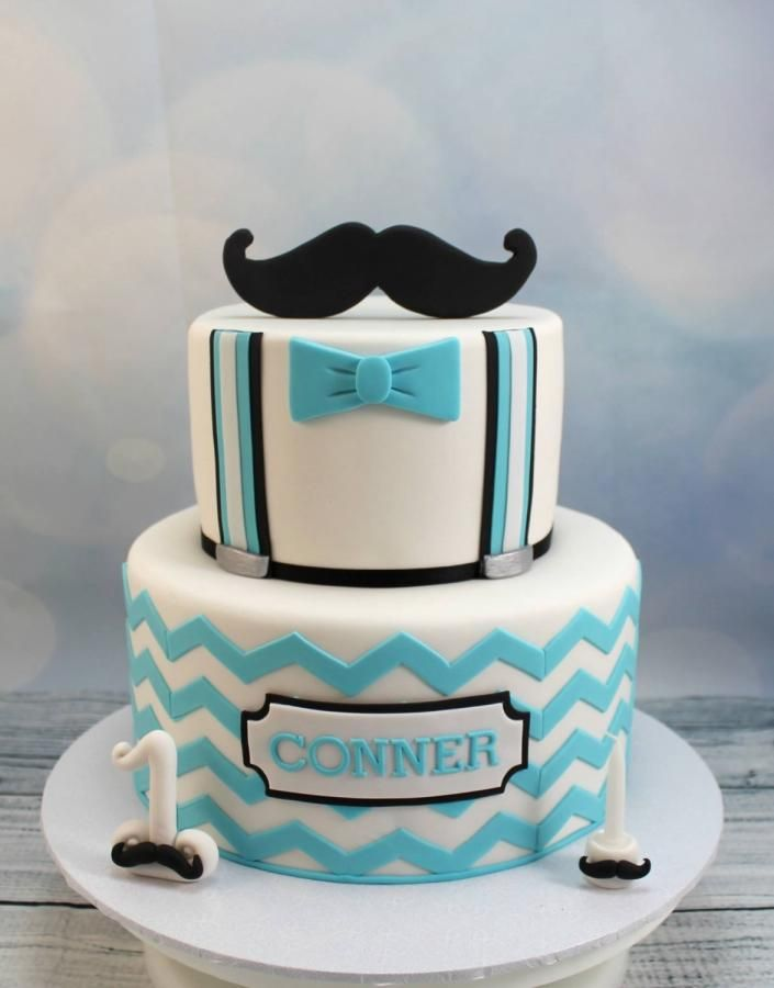 Chevron and moustache 1st birthday Cake by Kake Krumbs Baby