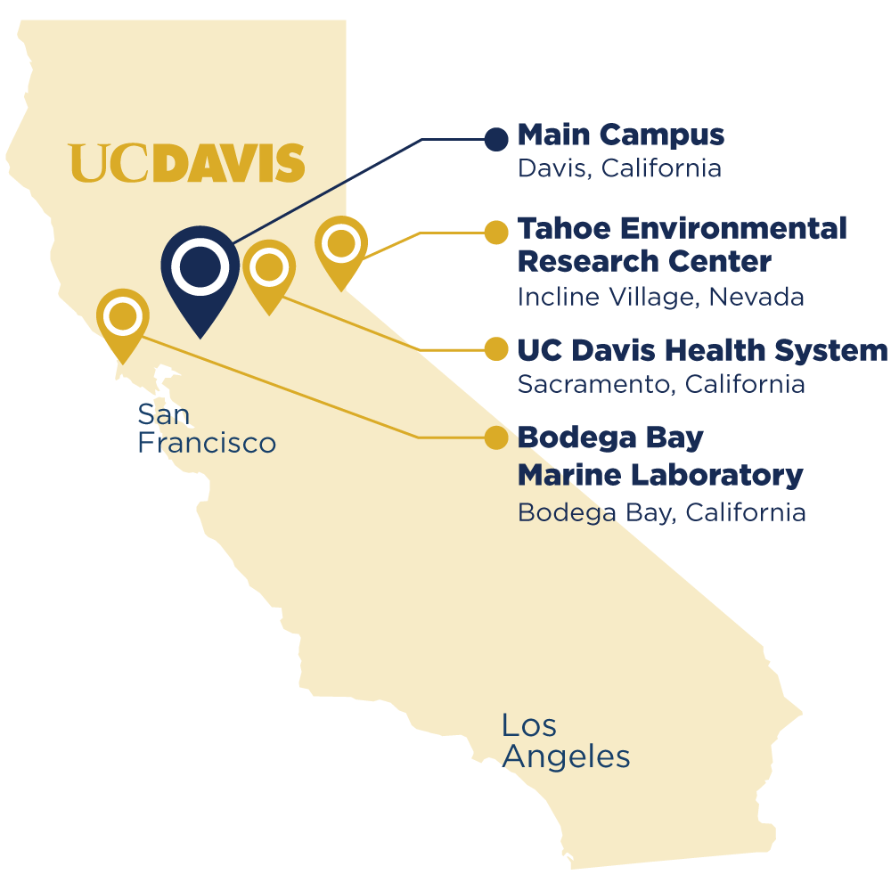 A map of California featuring 4 of UC Daviss locations including