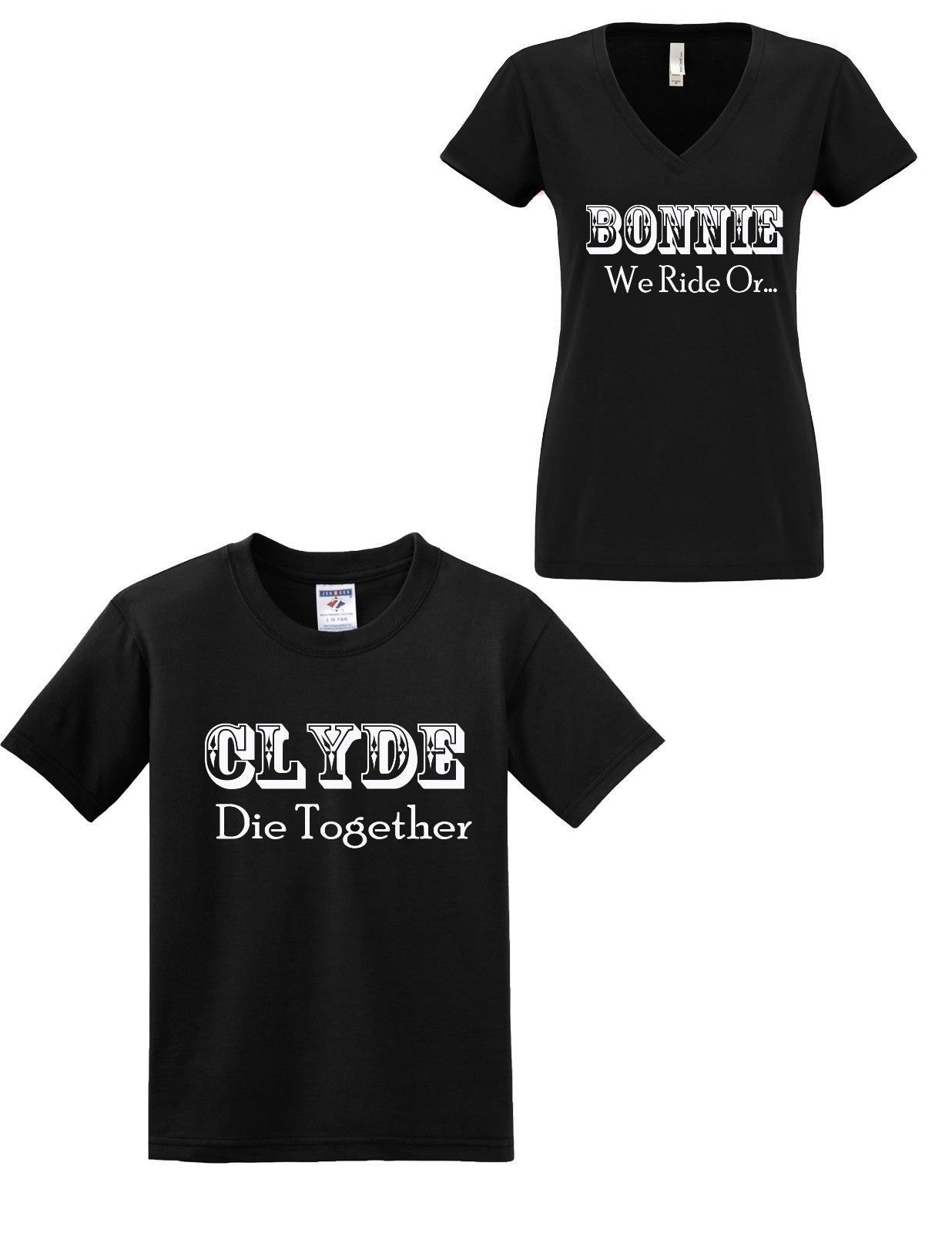 dc4ff984b7 Bonnie And Clyde T-Shirt We Ride Or Die Together Couples Valentine Day Idea