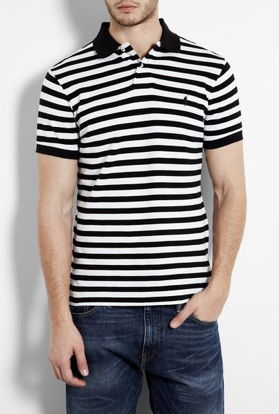 212247c6f8614 Black and White Stripe Polo Shirt - Lyst