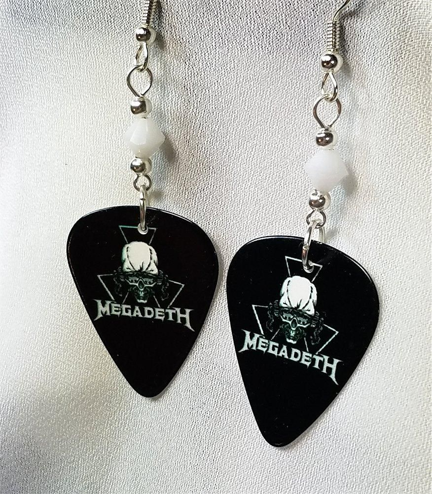 Megadeth Logo Guitar Pick Earrings with White Swarovski Crystals ...