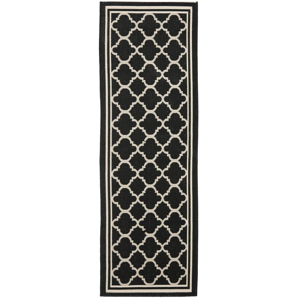 Safavieh Black/ Beige Contemporary Indoor Outdoor Rug (2u00272 X 12u0027)