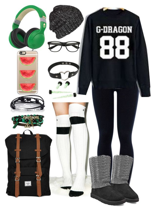 """""""BIGBANG G-Dragon Fan Autumn Outfit"""" by minyxxngi ❤ liked on Polyvore featuring Stance, NIKE, UGG Australia, Volcom, Herschel Supply Co., Skullcandy, Footnotes Too and Casetify"""