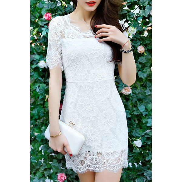 Sweet Short Sleeves See-Through Openwork Women's Dress — 12.77 € Size: L Color: WHITE