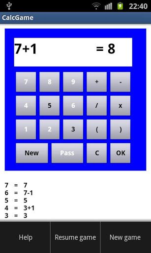 "CalcGame is a puzzle with numbers. And it is a great tool for children to have fun (and competition) with math!<p>You get 4 different digits. With one or more of these digits and optionally one or more of the calculator buttons  +, -, /, x, (, ) you must make the value ""1"". <br>When you succeed, you go to the next level and must create the value ""2"", and so on. <p>The goal of the game is to reach the highest possible level with the given digits. <p>When you are stuck, you can start a new…"
