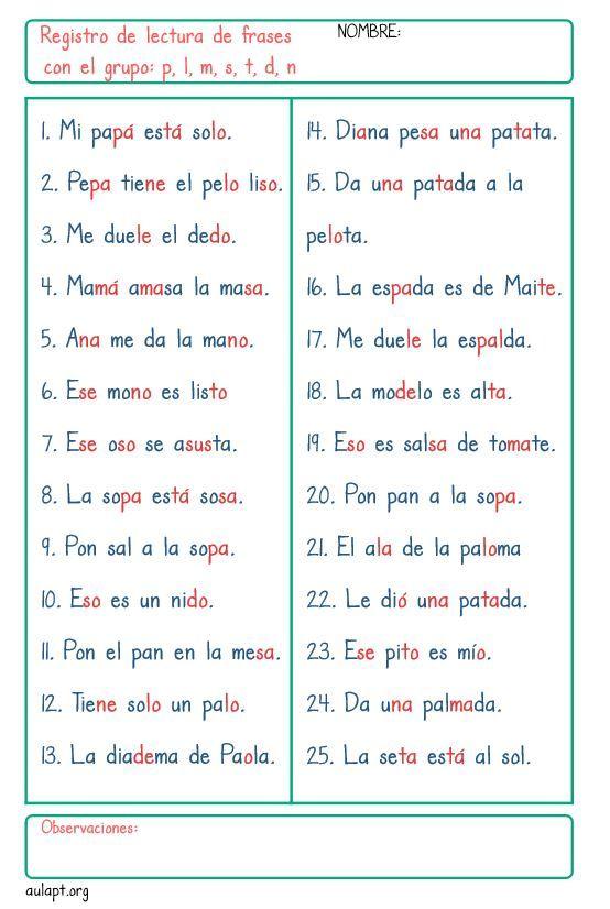 Registro De Comprension Lectora De Frases Grupo Consonantico