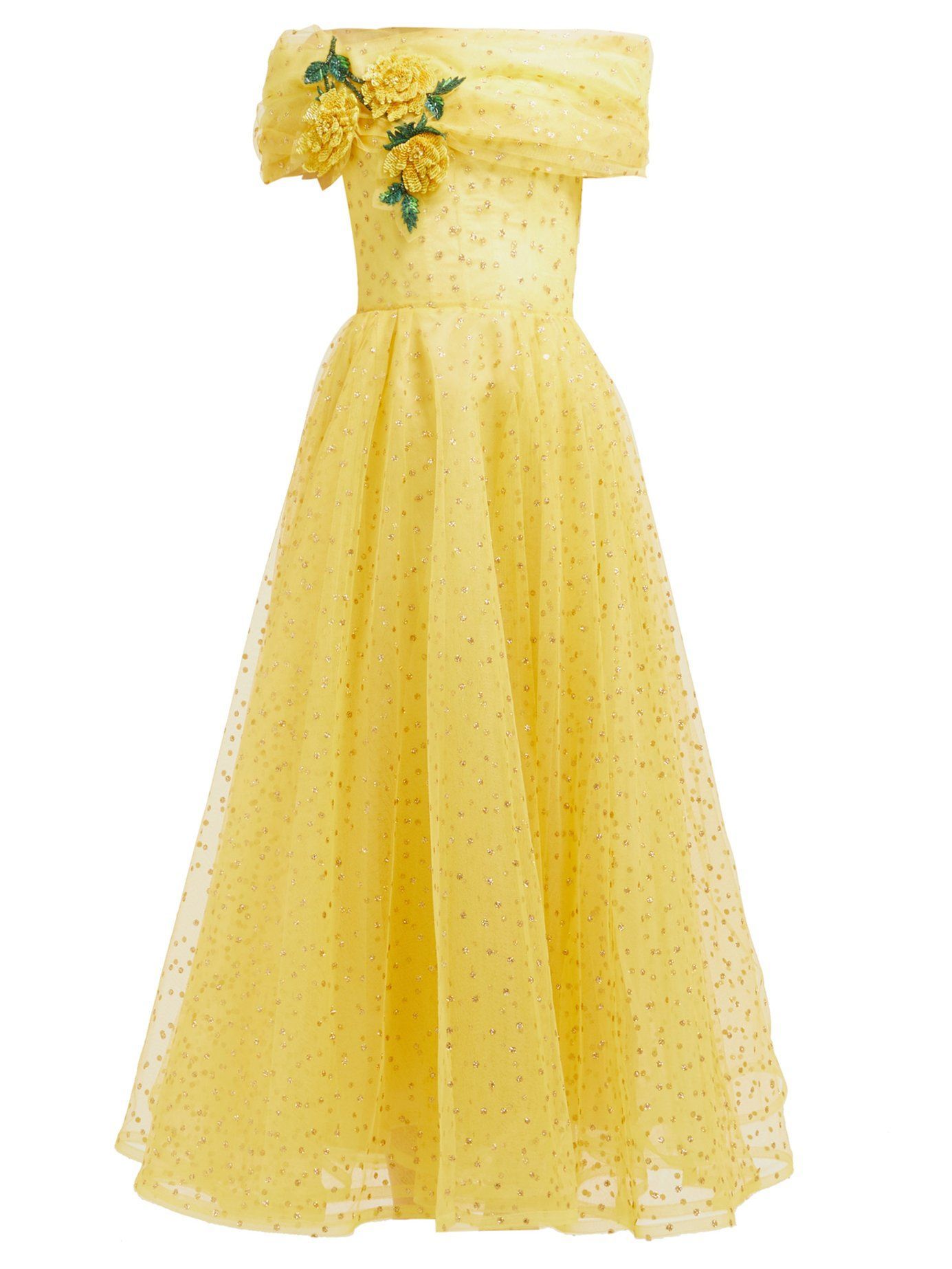 Floral Applique Polka Dot Tulle Gown Rodarte Matchesfashion Us Yellow Prom Dress Long Tulle Gown Fancy Dresses [ 1846 x 1385 Pixel ]