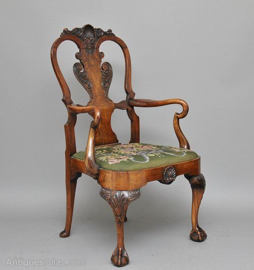 Early 20th Century Queen Anne Style Walnut Open Armchair   Antiques Atlas