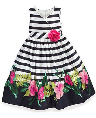Marmellata Baby Girls Stripes and Flowers Dress
