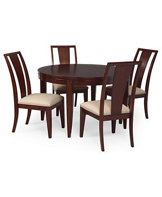 Prescot Dining Room Furniture 5 Piece Set Round Table And 4 Slat Back Chairs