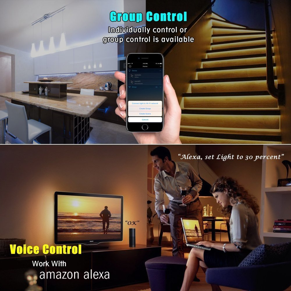 Led Strip Light Smart Phone Controlled Color Changing Smart Wifi Led Strip Light Works With Android And Ios Ifttt Google Assistant And Alexa 16 4ft Rgb Color Led Strip Lighting Strip Lighting Rgb
