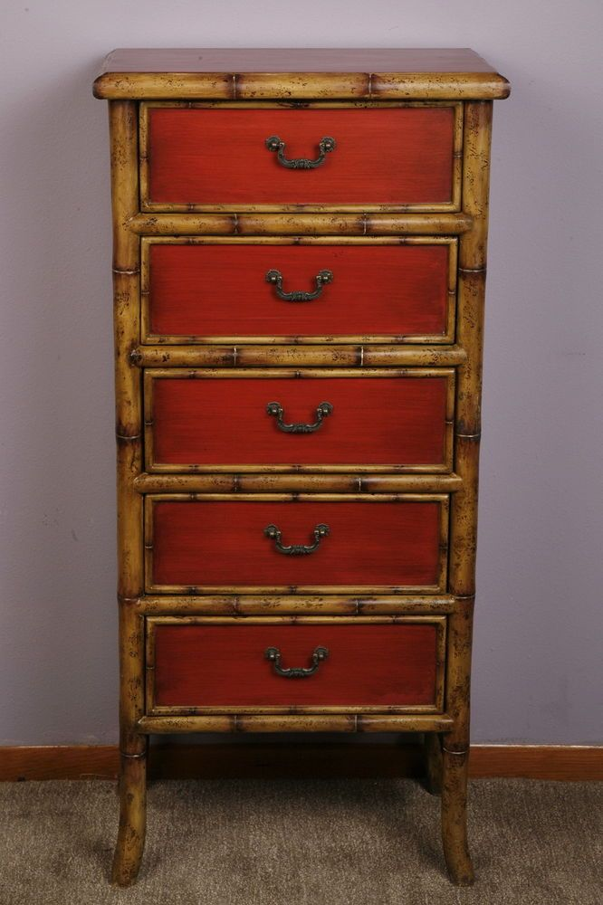 Oriental Chinese Furniture Painted Bamboo Wood Cabinet 5 Drawers Bronze  Hardware