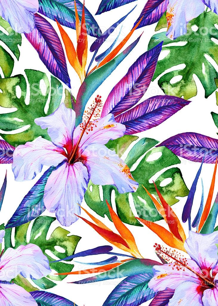 watercolor seamless tropical pattern with hibiscus strelizia,... #tropicalpattern