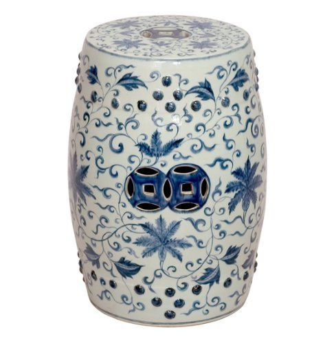 Round Blue And White Lotus Flowers Ceramic Garden Stool Seat By Emissary  Home U0026 Garden,
