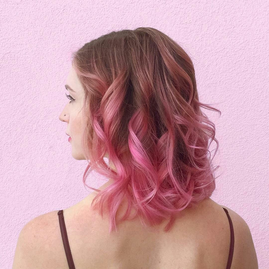 Pink Ombre On Dark Blonde With Images Pink Ombre Hair Pink