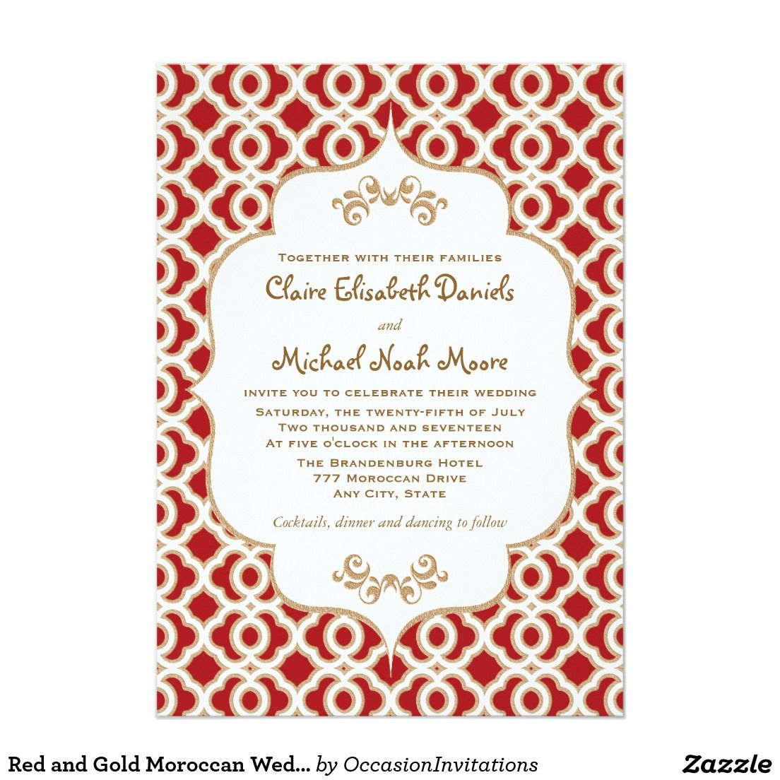 Red and Gold Moroccan Wedding Invitations Creative Wedding