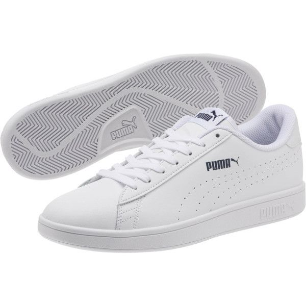 PUMA Smash v2 Leather Perf Sneakers | Puma White-Puma White | PUMA ...