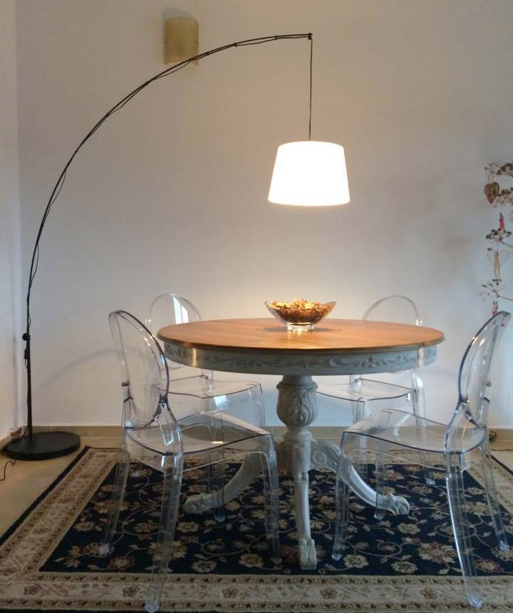 Dining table, dining chairs, Ghost chairs, IKEA hack REGOLIT floor lamp,  vintage