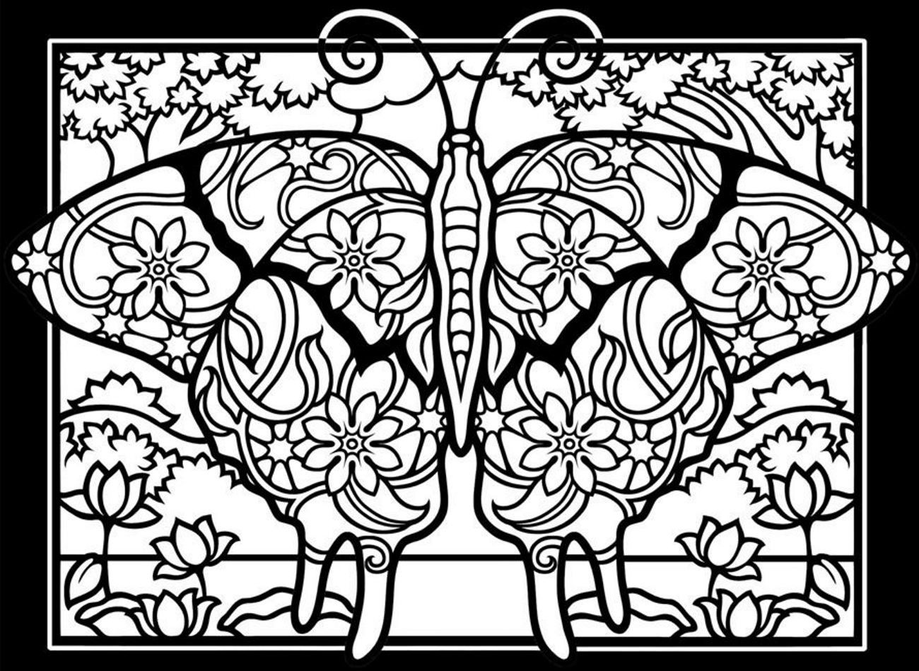 Free coloring page coloringadultdifficultbutterflies