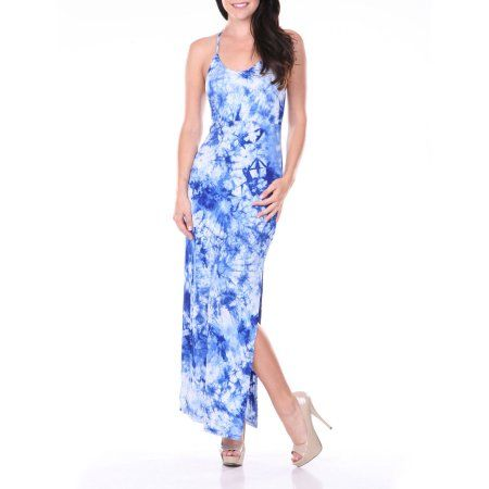 White Mark Women's Haltered T-Strap Tie Dye Maxi Dress, Size: Small, Blue