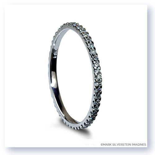 Uniquely sophisticated yet classic and refined, this simple eternity band features white diamonds pavé set in polished 18K white gold.  Thin and delicate the piece is built to last. #marksilversteinimagines