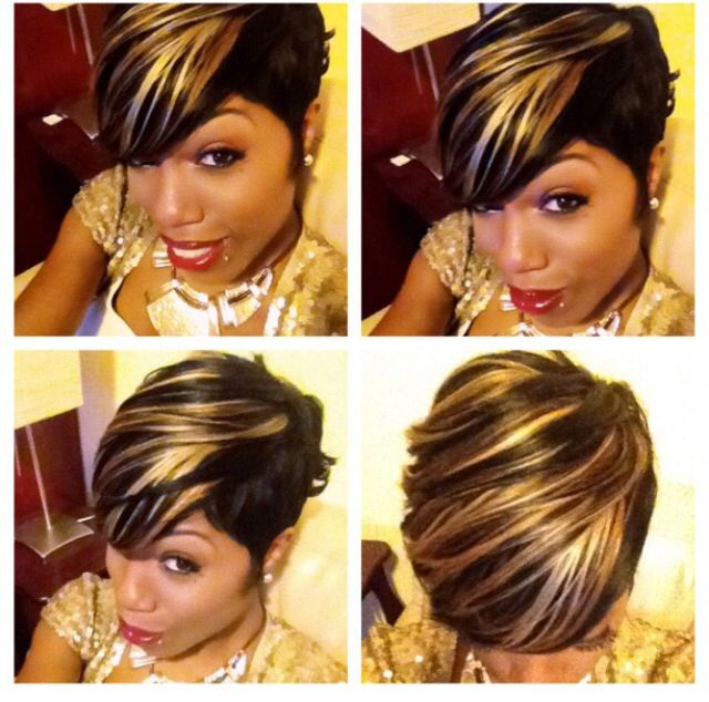 The Black Isn T For Me I D Have To Stick With My Shades Of Blonde But I Love The Look 27 Piece Hairstyles Quick Weave Hairstyles Short Hair Styles