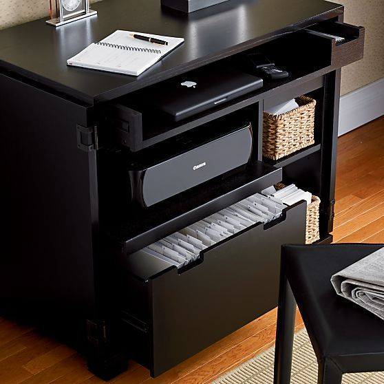 Incognito Ebony Compact Office In Storage Cabinets Carts Crate And Barrel