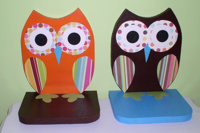 Owl shelves set of two wooden owl shelves. $6.6, via Etsy.OMG