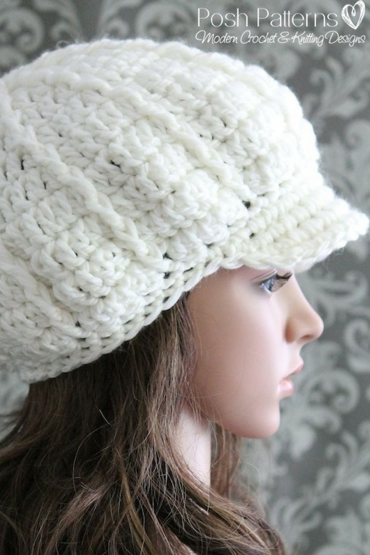 2b1e6e693c4 Crochet Pattern - Crochet this ELEGANT newsboy hat for a stylish fall and  winter accessory! Includes all sizes. Instant Download crochet pattern by  Posh ...