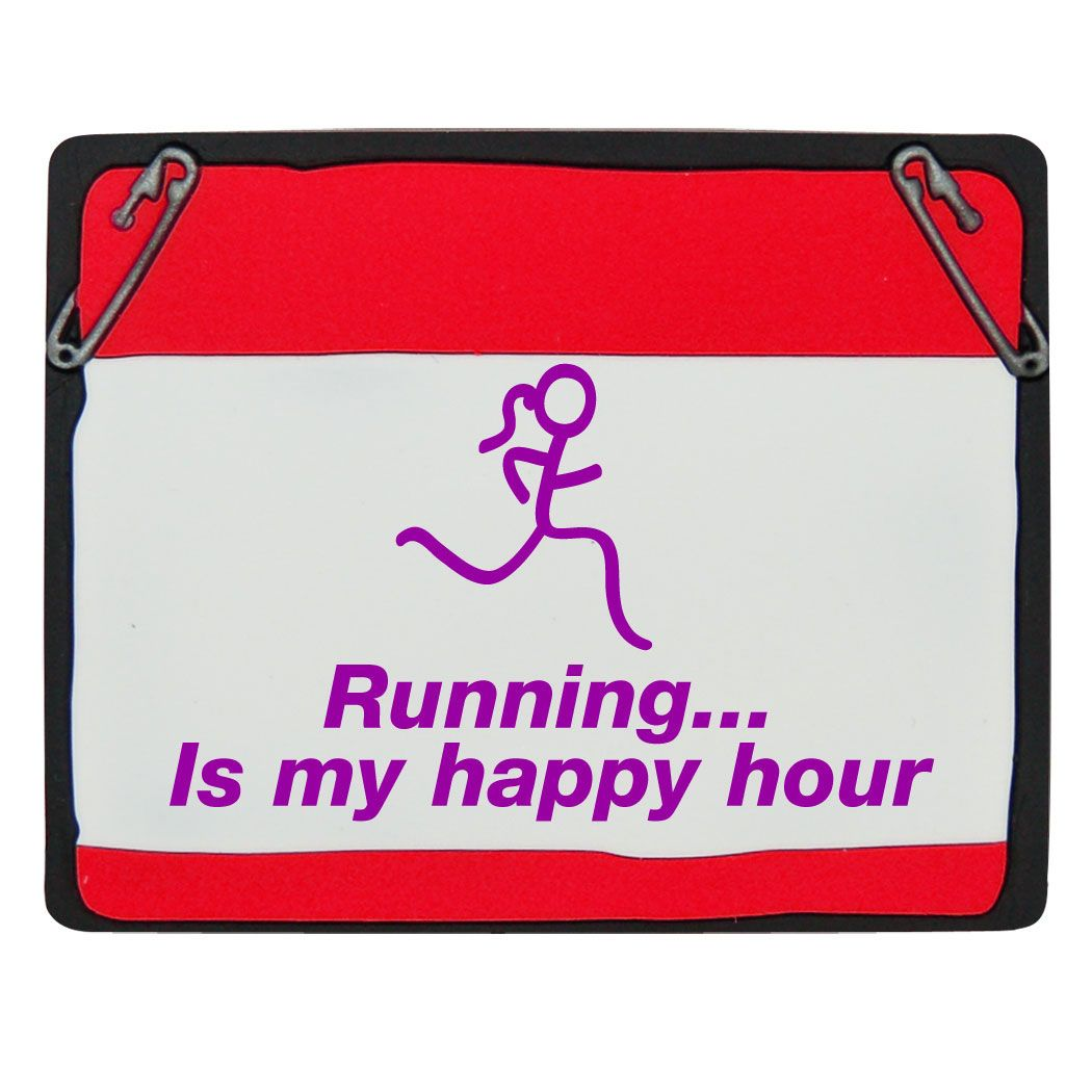 running magnets | Running..is my happy hour Race Bib Red Magnet. A runners bib shaped ...