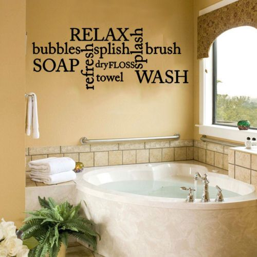 Soak Relax Enjoy Quote Wall Stickers Art bathroom Removable Decals DIY