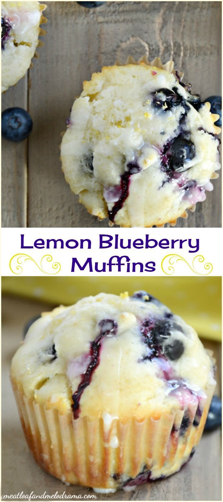 Glazed Lemon Blueberry Muffins is part of Muffin recipes blueberry - Homemade glazed lemon blueberry muffins are bursting with fresh blueberries and topped with a tangy lemon glaze