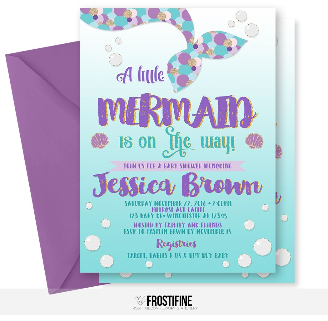 Mermaid baby shower invitation for your under the sea party theme ...