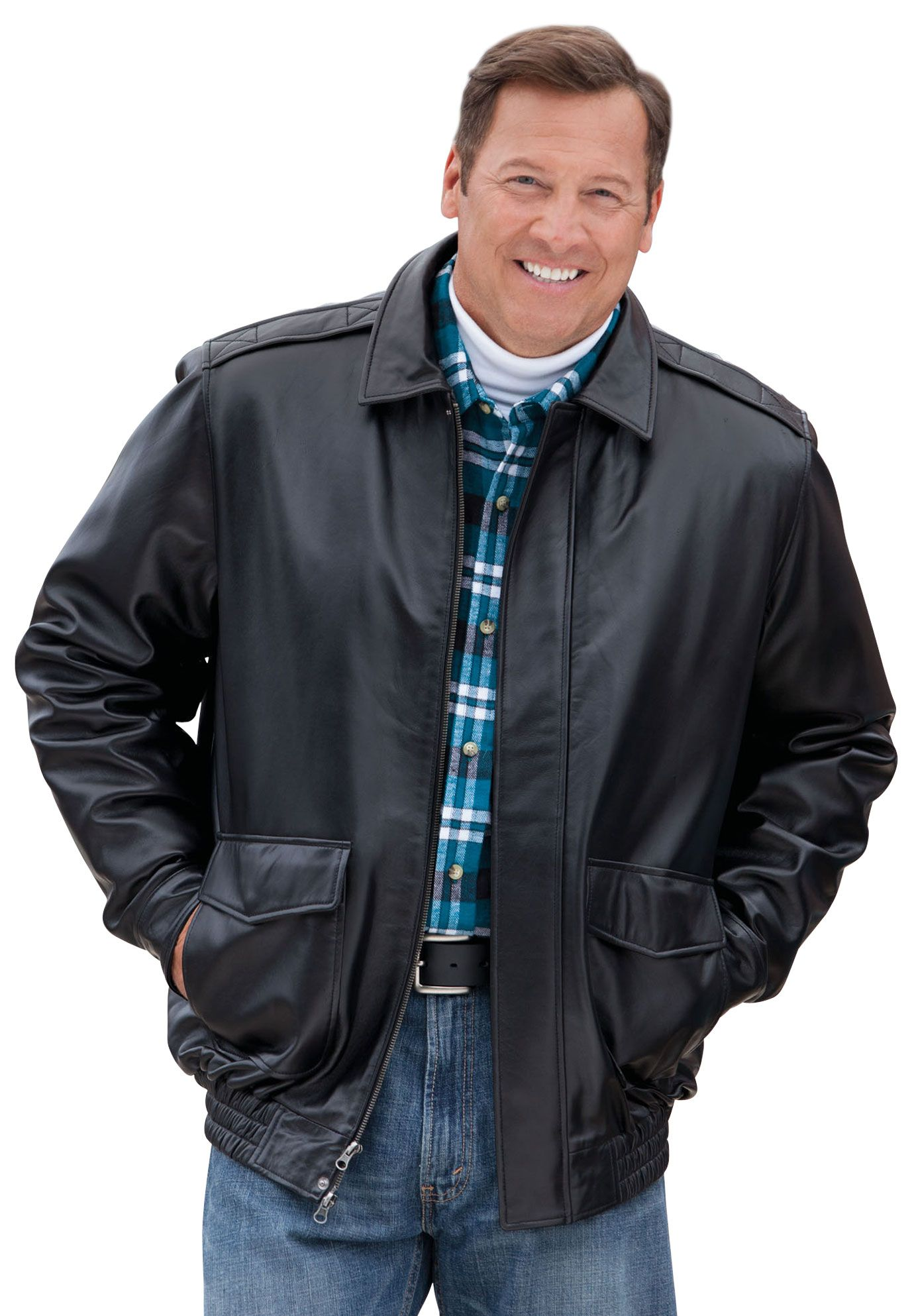 Big and Tall Leather Hipster Bomber Jacket image Hipster