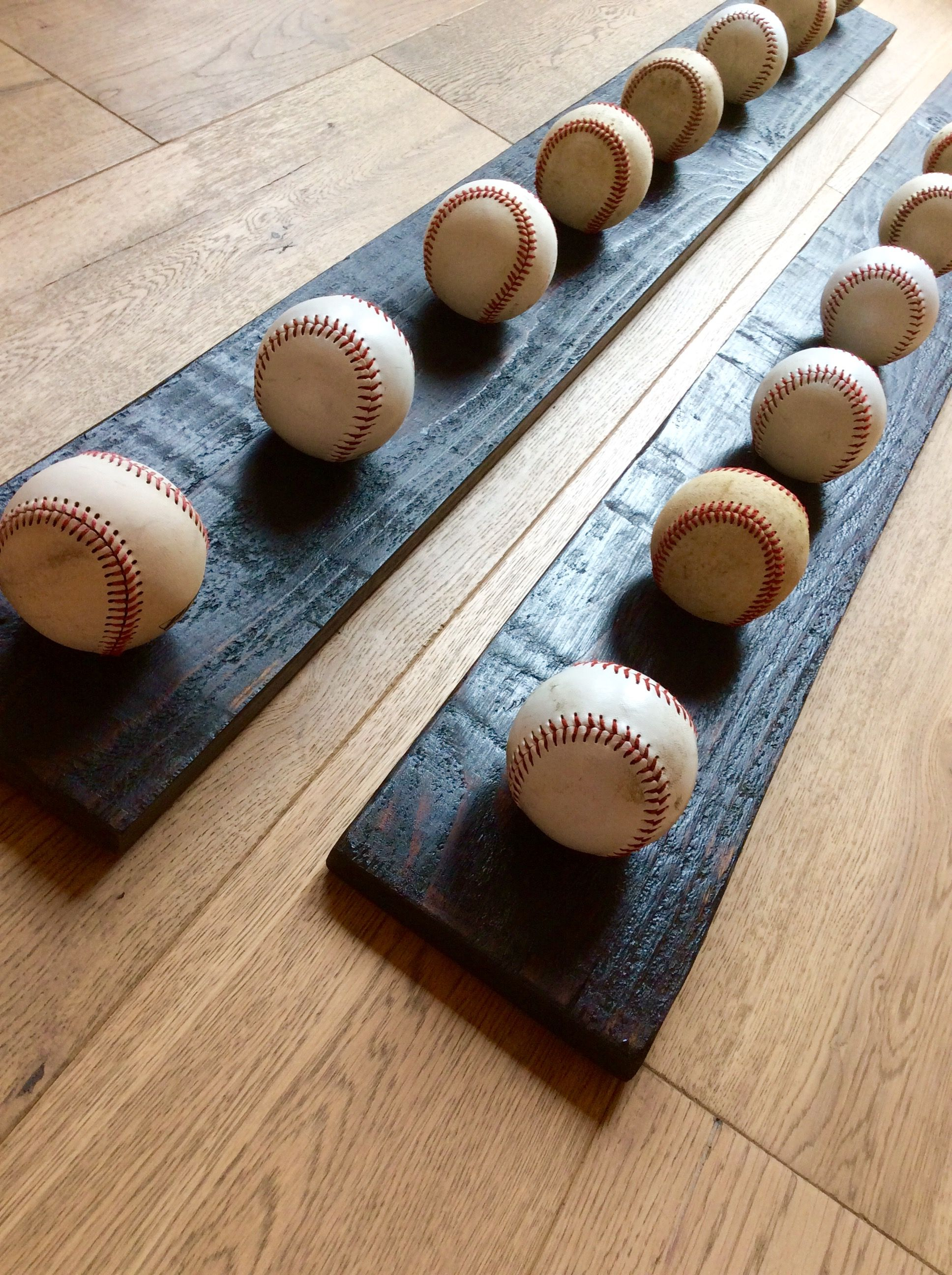 Baseball Hat Rack Made From Reclaimed Wood And Weathered Baseballs To Order Your Own Custom