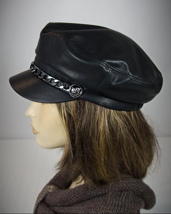 3e54127f Baker Boy Cap - Leather Cap, Baker Boy Hat, Cape Breton, Captain Hat, Black  Leather Cap, Breton Hat,