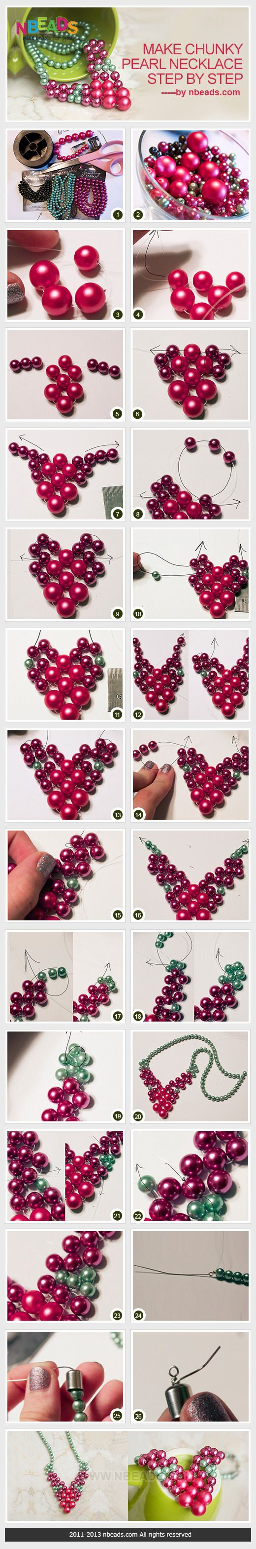 make chunky pearl necklace step by step | ༺✿༻Beadwork Jewelry ...