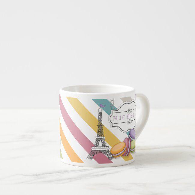 Colorful Paris Macarons Eiffel Tower Monogram Espresso Cup Zazzle Com Monogram Coffee Mug Macarons Espresso Cups