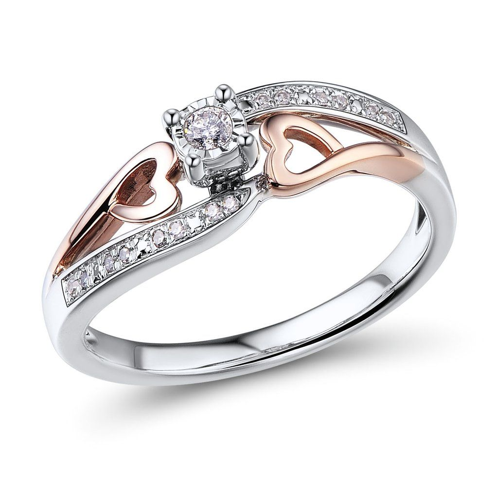 Very Romantic Promise Ring Has Diamond Accented Shank But It Is The Two 10k Rose Gold Hearts